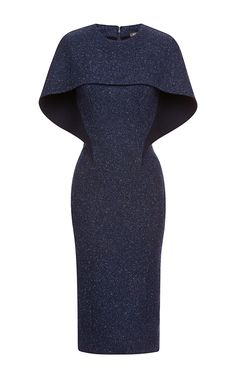 "Tweed Dress by Zac Posen - My instant reaction to this was ""oh...!"" How unique and could have circular, unseamed capelet and underneath has seams"