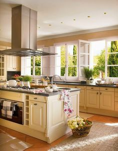 Country cottage kitchen in cream and gray