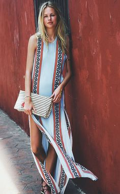 19c2ab2b3c4f6 Bohemian Jewel Neck Sleeveless Tribal Print High Slit Dress For Women