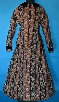 1860's Antique Civil War Era Wool Velvet Paisley Wrapper Dress Early Victorian | eBay