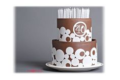 Modern Brown 40th Birthday Cake Filled with Candles