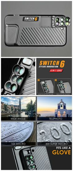 The Ztylus Switch 6 Kit's 6-in-1 lens design lets you quickly switch between the fisheye, wide angle, telephoto and macro lenses on your iPhone 7 Plus.