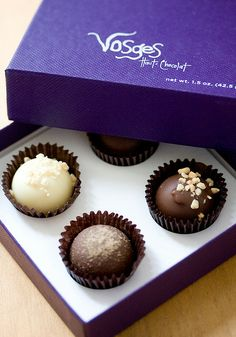 Vosges Haut-Chocolate (Chicago, Illinois, USA)- owner and chocolatier Katrina Markoff chooses every spice, flower and chocolate that is flown into the Vosges kitchen to be transformed into fine chocolates. She learned the art of French confectionery at Le Cordon  Bleu in Paris.