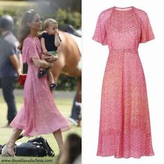 Meghan Markle and Kate Middleton Attend Charity Polo Match - Dress Like A Duchess Kate Middleton Style Dresses, Kate Middleton Hair, Kate Middleton Wedding, Kate Middleton Fashion, Feminine Dress, Classy Dress, Angelina Jolie, Meghan Markle, Polo Match