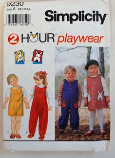 Simplicity Pattern 9230 - Toddler's Jumpsuit and Jumper, Shorts, Pants, Dress,  Size (1/2, 1, 2, 3, 4) by littlerosecreations on Etsy
