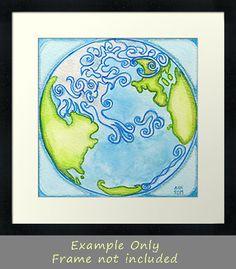 earth watercolor - Google Search