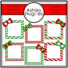Stitched Christmas Bow Frames FREE {Graphics for Commercial Use}
