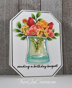 Handmade Birthday Card, Arts Monthly Hero Kit, Versatile Vases, My Favorite Things Stitched Tag Corner Rectangle Hero Arts Cards, Birthday Bouquet, Handmade Birthday Cards, Pretty Cards, Card Kit, Flower Cards, Homemade Cards, Simon Sez, Note Cards