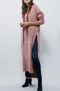 Solid Color V Neck Long Sleeve Sweater Dress PINK: Sweater Dresses | ZAFUL