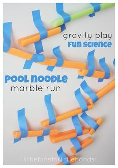 G is for gravity Build a pool noodle marble run for kids STEM activities and engineering projects. School Age Activities, Science Activities For Kids, Steam Activities, Preschool Science, Preschool Kindergarten, Science Experiments, Summer Activities, Science Fun, Science Ideas
