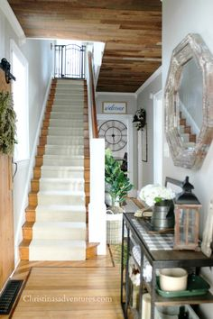 See the complete transformation of this staircase makeover with a new stair runner. This fixer upper Victorian home has amazing before and after pictures!