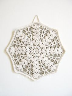 organic crochet pot holder... Greta - rustic lace octagon in taupe and cream ... two constrasting layers, via etsy
