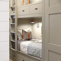 "Gray Built In Bunk Beds, Contemporary, Boy's Room--an idea for ""sleep pods"""