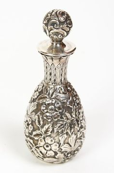 1880s Beautiful Victorian Sterling Silver Perfume Bottle -Rare