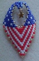 4th of July Earrings   4th of July Russian leaf earrings with optional tiny star charm. Would make a special gift for a gold star mother. Includes graph, bead by bead instructions with illustrations. Technique has been simplified from my previous Russian leaves. Knowledge of flat peyote stitch required.