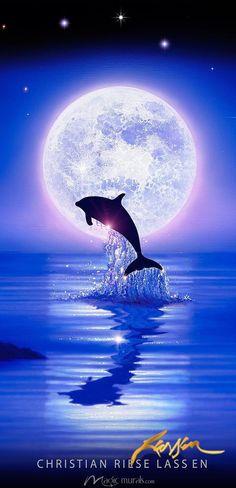 Mystic Light by Christian Riese Lassen, a wall mural from Magic Murals. Cute Wallpaper Backgrounds, Animal Wallpaper, Ocean Art, Ocean Life, Dolphins Tattoo, Dolphin Art, Wale, Beautiful Moon, Cute Animal Drawings