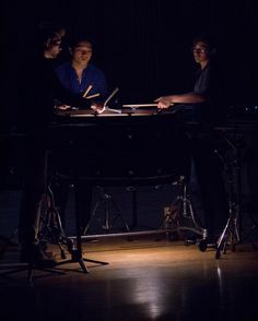 """interlochenarts With an illuminated drum here are our percussionists rehearsing Steve Snowden's """"A Man With A Gun Lives Here"""". • New York, NY • #interlochenarts #Interlochen"""