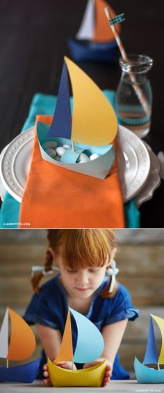 DIY Paper Boat - Lia Griffith If you haven't noticed, we have been working with a bit of a nautical theme recently. Paper Crafts Origami, Paper Crafts For Kids, Diy Paper, Diy For Kids, Boat Crafts, Ocean Crafts, Summer Crafts, Diy Party Decorations, Paper Decorations