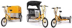 More British-based ultility trikes, crafted tough to haul most anything from mail, to odd shaped cargo, including humans. As with several other companies, these guys make it possible to upscale to an electric-assist version if you need extra grunt. Cycle Maximus