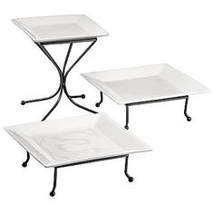 cooks White Serving Plates with Racks  $37.00
