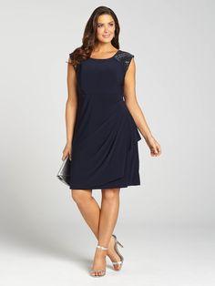 Laura Plus | Embellished Shoulder Ruched Dress - Navy