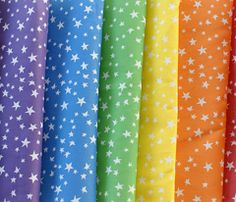 """scattered stars"" color choices by robyriker - could make a really fun pleated rainbow skirt with the colors all lined up like that"