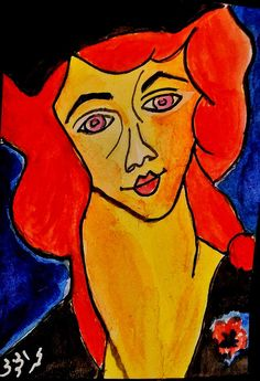 ACEO ATC original woman abstract illustration portrait 2 mini painting art card #Miniature