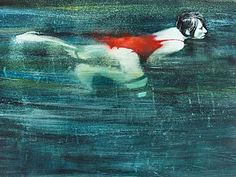 Night Swimmers - Maxwell Doig, 2012 Mixed media on archival paper 50 x 70 cm Perspective Artists, Illustrations, Sculpture, Figure Painting, Art Google, Art Projects, Contemporary Art, Fine Art, Water