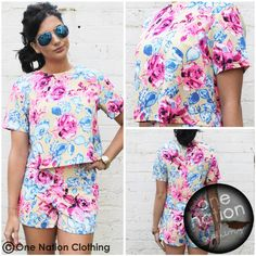 Floral Rose Print Pink Blue & Nude Crop Top High Waisted Shorts Co-ord Set 8-14 | eBay