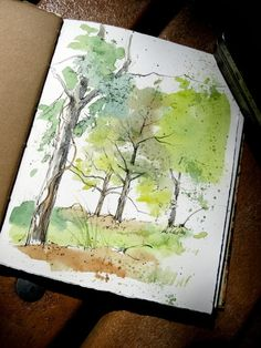 Nature sketch · drawing journal · artists' journal workshop: what's your favorite way to work? Watercolor Journal, Watercolor Trees, Watercolor Sketch, Watercolor Landscape, Watercolor Paintings, Watercolors, Sketch Art, Watercolour Pens, Watercolor Portraits