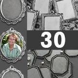 30 Pack Photo Jewelry Elegant Edged Pendants Variety Home Business Kit