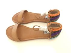 Not Rated Womens Buttercup Size 8.5 Multicolor Beads Tan Gladiator Sandals Flats #beadedflat #Gladiatorflat #ootd