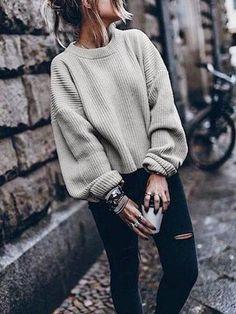 Women Fashion Autumn and Winter Casual Gray Irregular Pullover Turtleneck  Sweater 03b8848cb