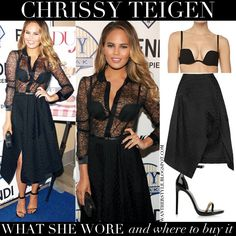 Chrissy Teigen in sheer black shirt, black bra with black skirt and ankle strap sandals #chrissyteigen #fashion #outfit #black #style #chic #model #inspiration