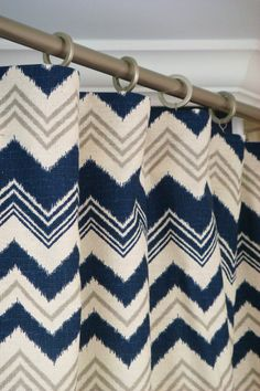 "Pair Of Custom Modern Chevron Ikat Rod Pocket Clip Ring Curtain Drapery Panels 50""Wide x 84"" Long Navy Natural Gray Blindstitched"