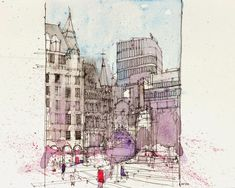 Urban Sketchers: St. Peter's Square, Manchester
