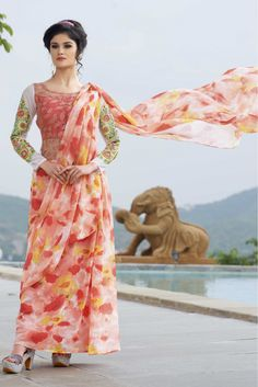 Peach Colour Georgette Fabric Designer Semi Stitched Flower Printed Gown Comes With Matching Dupatta. This Gown Is Crafted With Embroidery,Flower Printed Work. This Gown Comes as Semi Stitched so It C...