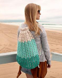 Ravelry: Seafoam Beach Backpack pattern by Julie King Bead Crochet, Diy Crochet, Crochet Hooks, Crochet Ideas, Crochet Projects, Sewing Projects, Crochet Backpack, Backpack Pattern, Crochet Handbags