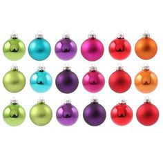 Glass Christmas bauble, multi-coloured: lime green, teal blue, fuchsia, purple, red & oranje, matt & shiny assorted, 18 pieces, 6cm