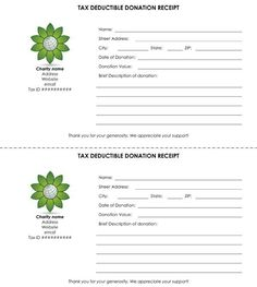 tax deductible donation receipt template using the donation