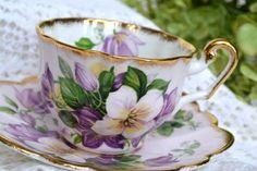 Vintage Windsor, Purple Lavender Azalea Tea Cup and Saucer, Bone China, England Antique Tea Cups, Antique Dishes, Vintage Cups, Vintage Tea, Teapots And Cups, Teacups, China Tea Sets, Tea Service, My Cup Of Tea