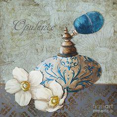 Elegant Decorative Bath Bathroom Art Flower Perfume Bottle Painting Opulence Painting