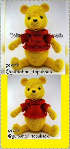 In this article we will share the amigurumi winnie the pooh crochet free pattern. Amigurumi related to everything you can not find and share with you. Crochet Panda, Crochet Animal Amigurumi, Amigurumi Patterns, Crochet Toys, Free Crochet, Bear Patterns, Crochet Baby Blanket Tutorial, Crochet Baby Dress Pattern, Winnie The Pooh
