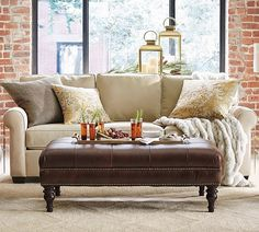 The fall 2017 Pottery Barn rugs sale is happening now. We have the scoop on trendy rugs you'll adore at up to off for every room in your home. Club Furniture, Furniture Upholstery, Home Furniture, Bg Design, Home Design, Interior Design, Design Ideas, Tufted Leather Ottoman, Upholstered Sofa