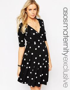ASOS Maternity | ASOS Maternity NURSING Wrap Skater Dress In Spot Print at ASOS