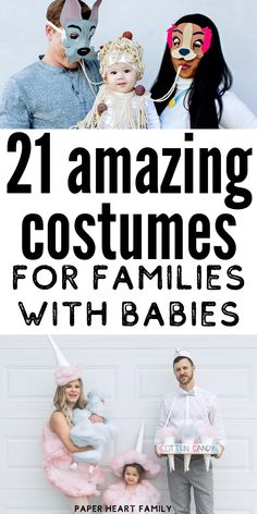 Amazing mom, dad and baby costumes (that will work with multiple kids too! These family Halloween costumes including a baby are too cute, sweet, fun and awesome! halloween costumes 21 Mom, Dad And Baby Halloween Costumes Costume Halloween Bebe Garcon, Sibling Halloween Costumes, Baby Halloween Costumes For Boys, Boy Costumes, Halloween Diy, Halloween Makeup, Mom And Baby Costumes, Disney Family Costumes, Halloween Decorations
