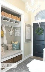 """transforming a coat closet into an entry nook, love! - How to make your home less """"cookie cutter""""! This would be cute to do for a back hallway/mudroom too. Home Upgrades, Entry Nook, Entry Bench, Entry Rug, Flur Design, Design Design, Sweet Home, Home Organization, Coat Closet Organization"""