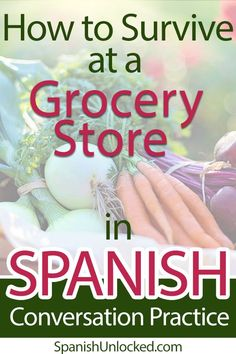 Let's learn Spanish vocabulary - a list of fruits and vegetables - So you can go to a grocery store and shop with ease in any Spanish-speaking countries. You can practice your Spanish conversation skills at your local Mexican or Latin supermarkets, too! Spanish Phrases, Spanish Grammar, Spanish Vocabulary, Spanish Words, Spanish Language Learning, Learn A New Language, Spanish Lessons, Teaching Spanish, Spanish 101