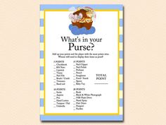 noah's ark baby shower, twins, animals, whats-in-your-purse