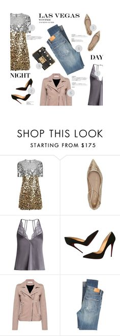"""""""Night is Day: Las Vegas"""" by pianogirlzoe ❤ liked on Polyvore featuring Dolce&Gabbana, Shoes of Prey, Fleur of England, Christian Louboutin, IRO, Citizens of Humanity, Gucci, DayToNight, LasVegas and traveloutfit"""